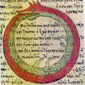 Uróboros simboliza en varias culturas el eterno retorno. Aquí aparece la serpiente en un texto griego de alquimia. Wikipedia.org