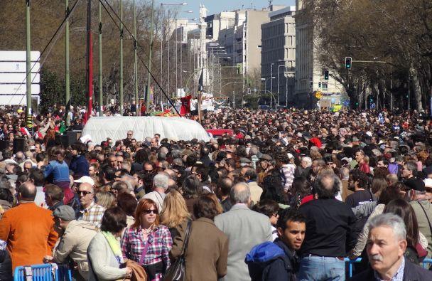 El Paseo de la Castellana, entre Cibeles y Colón, durante la fiesta 'En Defensa de la Cultura'. / F. F.