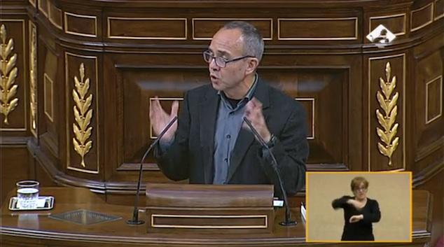 Joan Coscubiela, en el Congreso, durante el debate sobre el referéndum en Cataluña.