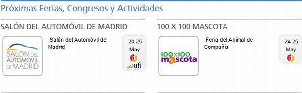 Programación de las ferias que se celebran hoy mismo en el . / ifema.es