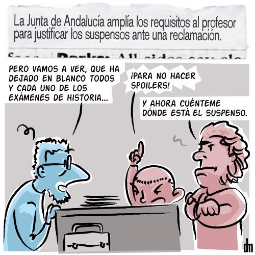 El Condensador de Fluzo - Los suspensos de los profesores en Andalucía se miden con una lupa mayor que los propios exámenes de los alumnos para cumplir con estadísticas. Los aprobados de despacho se convierten en una empinada cuesta.