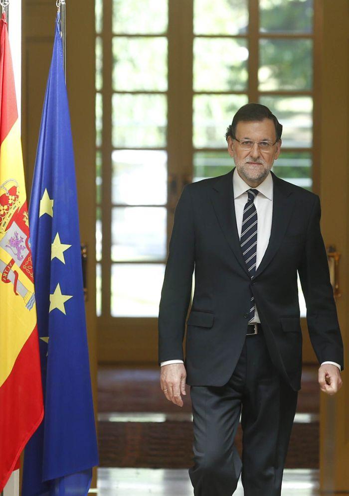 El presidente del Gobierno, Mariano Rajoy, hoy, en Moncloa, momentos antes de ofrecer la declaración instituciona. /lamoncloa.gob.es