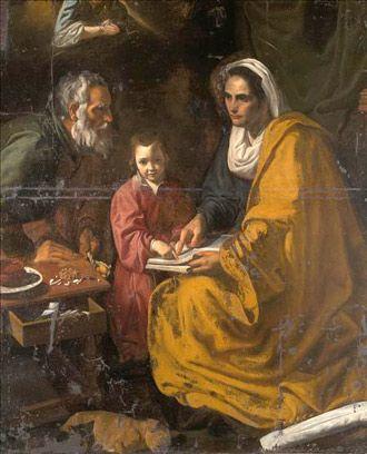 Imagen de 'La Educación de la Virgen', de Velázquez, antes de ser restaurado. / Efe