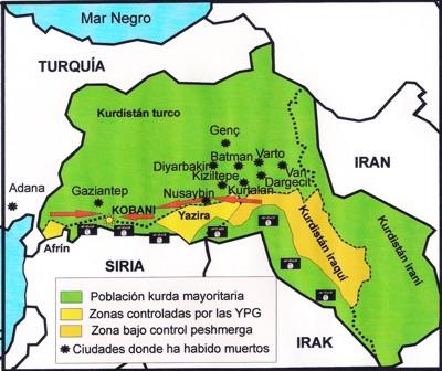 Las flechas rojas indican el camino que tendrían que seguir los refuerzos para salvar Kobani. / Manuel Martorell