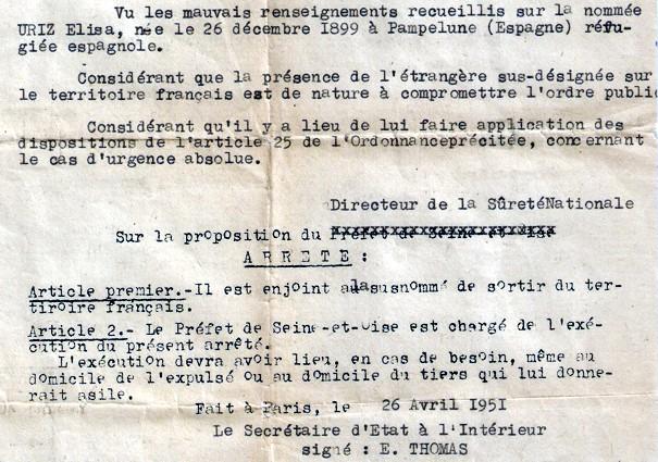 Orden de expulsión de 'urgencia absoluta' contra Elisa Úriz. / badostain.net