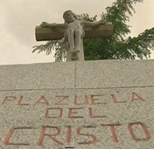 Imagen de uno de los monumentos de granito de Navalcarnero. / Captura de laSexta Noticias