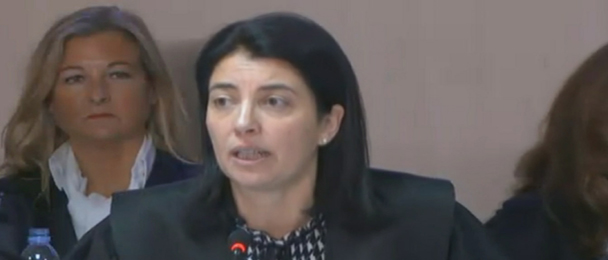 La abogada del Estado Dolores Ripoll, durante su actuación en el caso Noos. / Señal institucional