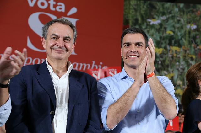 Pedro Sánchez junto al expresidente José Luis Rodríguez Zapatero, ayer 17 de junio en Valladolid. /PSOE (flickr)