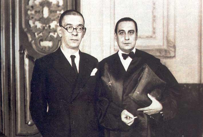 Zugazagoitia con el escritor y profesor Luis Jiménez de Asúa. /Biblioteca Virtual Miguel de Cervantes.