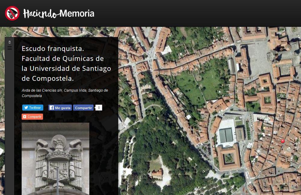 Una de las imágenes en la web Haciendo Memoria creada por IU para recopilar símbolos franquistas que aún perviven en nuestro país. / Haciendomemoria.org