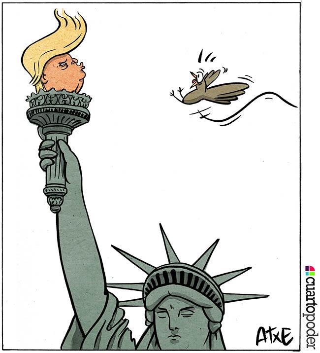 Trump: La estatua de la Libertrump.