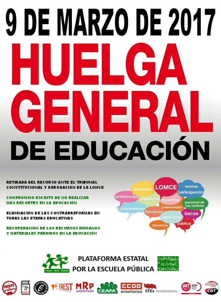 Cartel para la huelga general de educación del 9M. / Plataforma Estatal por la Escuela Pública.