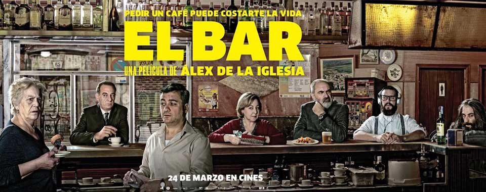 Cartel anunciador de El Bar, de Álex de la Iglesia.
