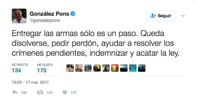 Tuit de González Pons tras el anuncio de desar,e incondicional y unilateral de ETA.