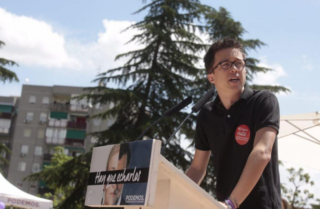 El secretario de Análisis Estratégico y Cambio Político de Podemos, Íñigo Errejón, en el acto de la moción de censura de hoy contra Cristina Cifuentes.