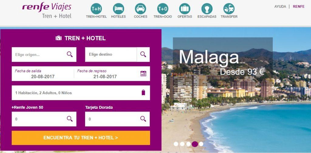 Oferta de la página Renfe Viajes para ir a Málaga.