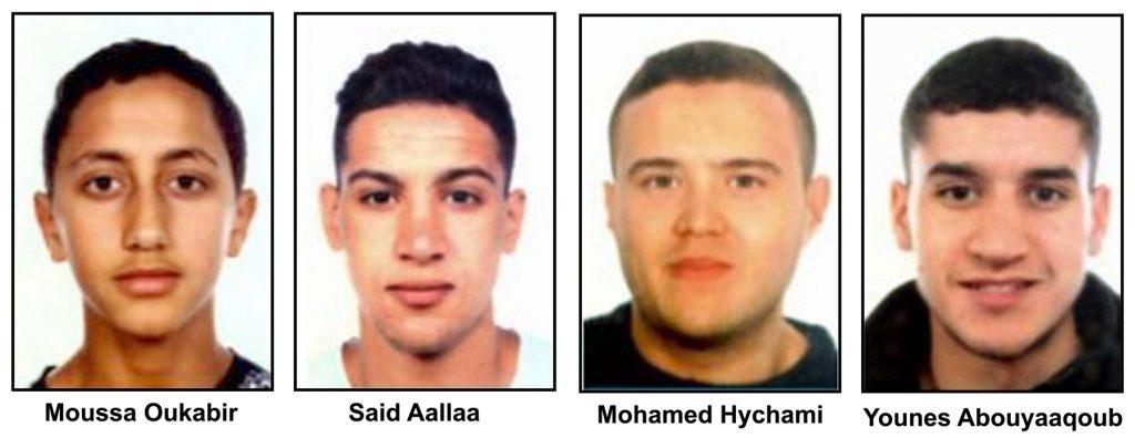 Fotografías escolares de los cuatro terroristas abatidos por la policía en Cambrils.