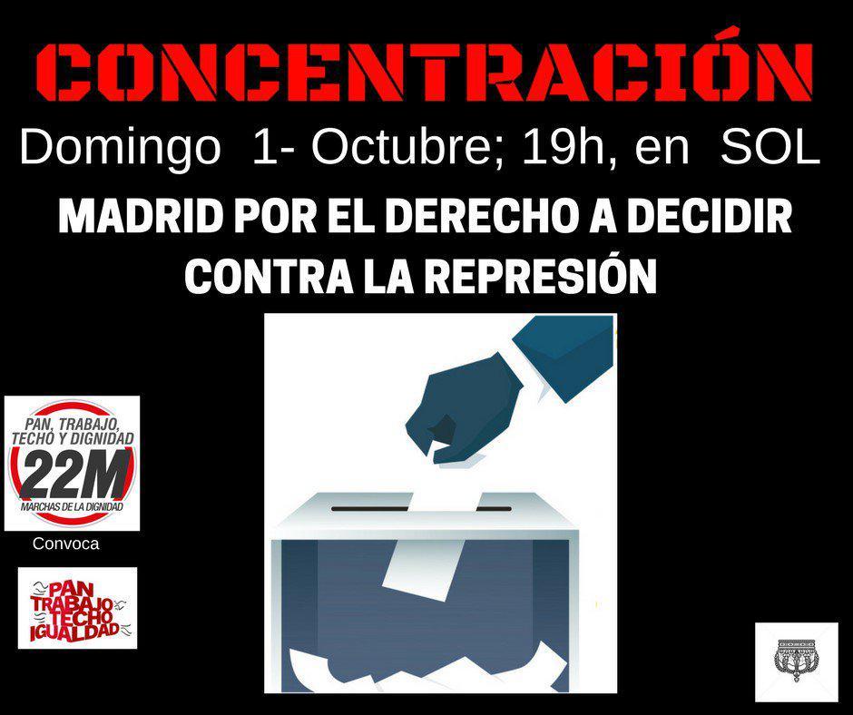 """Cartel de la concentración """"Por el derecho a decidir"""" en la Puerta del Sol."""