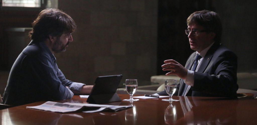 Carles Puigdemont, president de la Generalitat, responde al periodista Jordi Évole