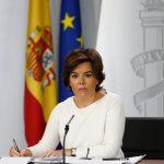 La vicepresidenta Soraya Sáenz de Santamaría el pasado viernes 13 de octubre, en la rueda de prensa posterior al Consejo de Ministros