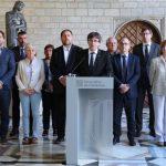 Carles Puigdemont y los miembros de su Govern comparecieron el 20 de septiembre para denunciar la detención de 14 altos cargos de la Administración catalana