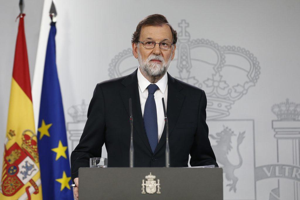Rajoy habla en la Moncloa sobre Cataluña.