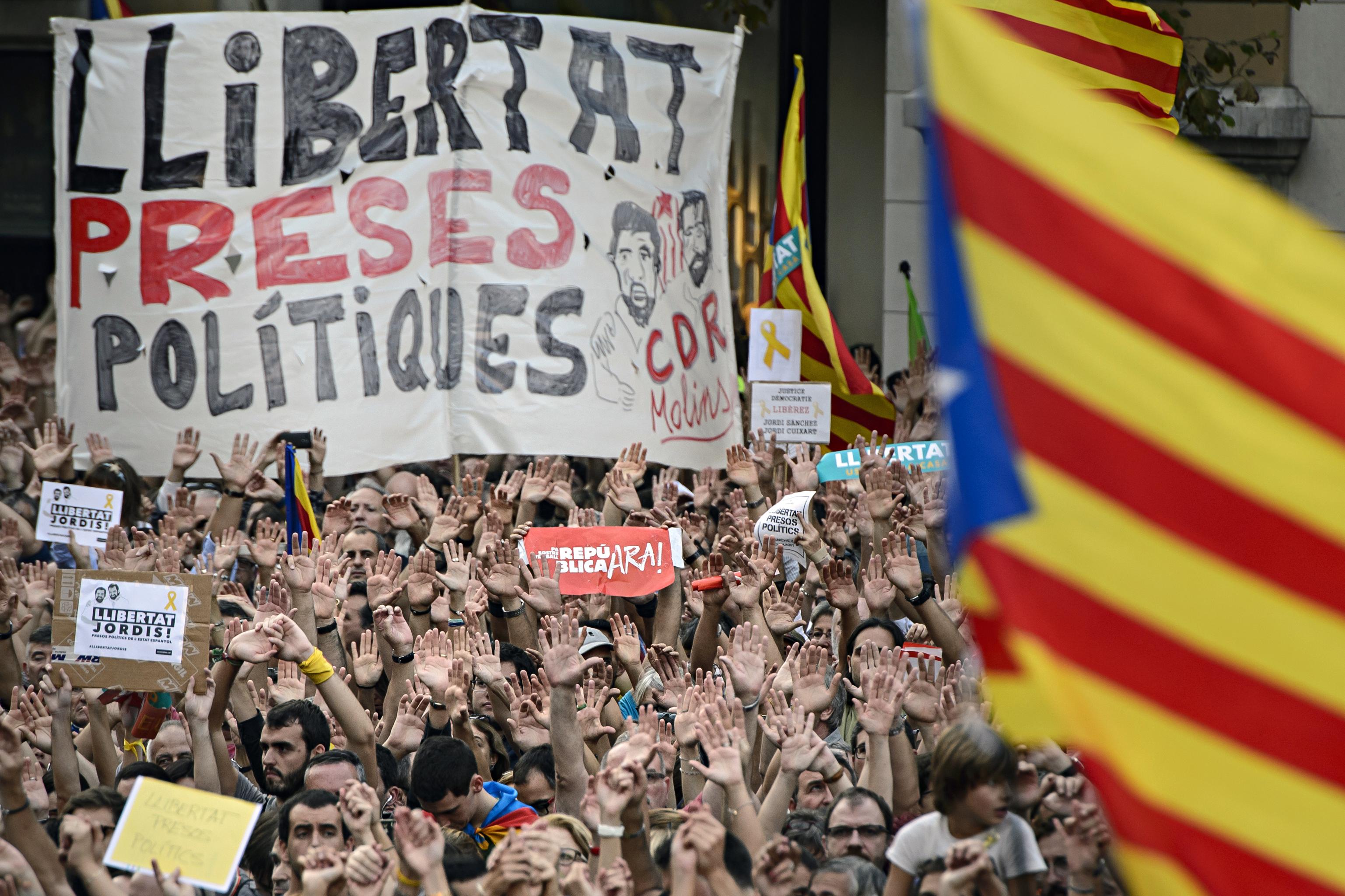 Manifestación en Barcelona en demanda de la liberación de los Jordis