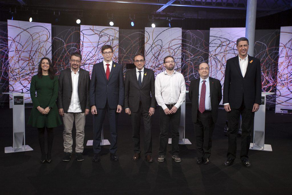 Los participantes en el último debate de las elecciones catalanas.