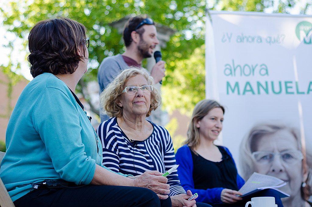 Manuela Carmena, en un acto de campaña de Ahora Madrid en 2015.