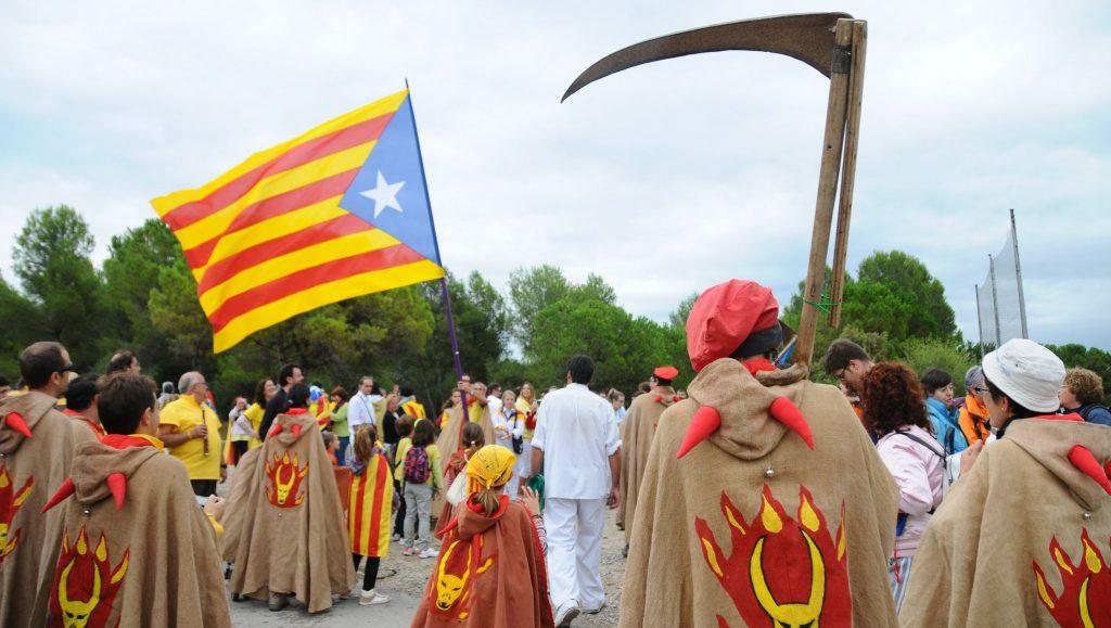 Un acto proindependentista durante la Diada de 2013 en un área rural catalana