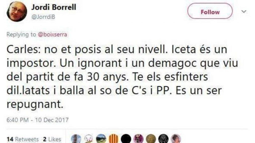El tuit de Jordi Borrell con insultos al líder del PSC Miquel Iceta