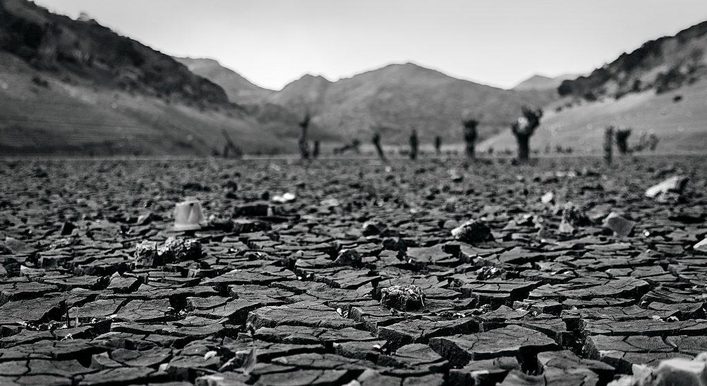 Uno de los embalses más afectados por la sequía en España, Barrios de Luna (León)./