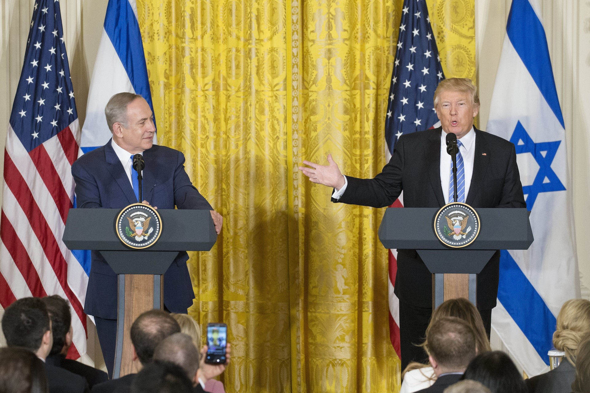 benjamin Netanyahu y Donald Trump en rueda de prensa el 15 de febrero de 2017.