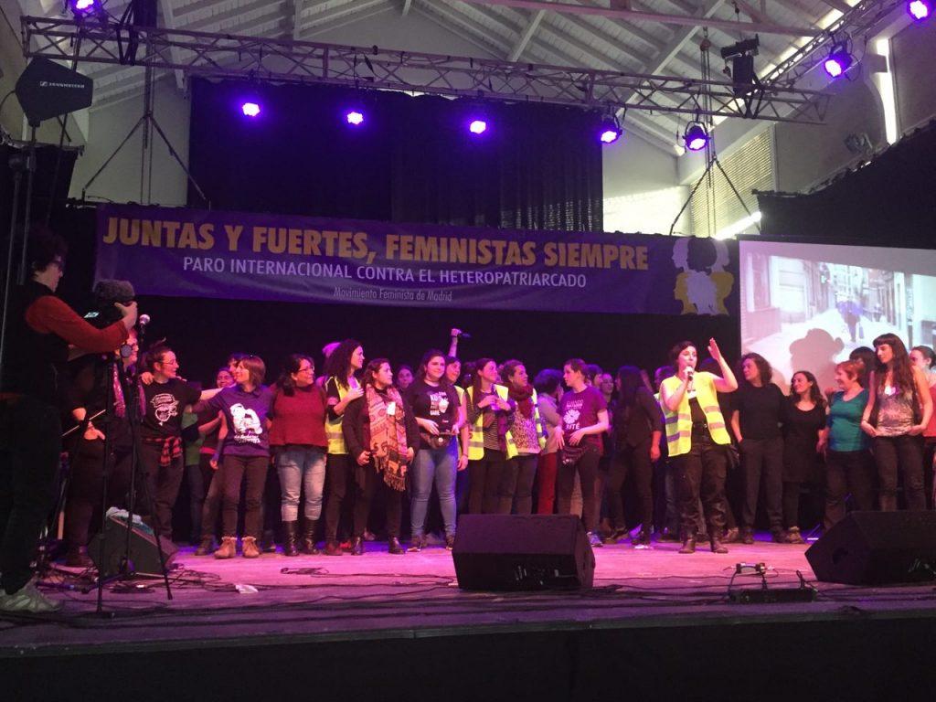 Evento de llamamiento a la huelga del 8M en Matadero, Madrid.
