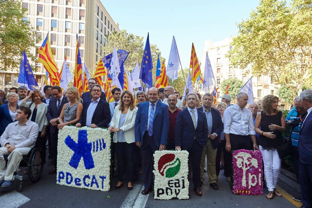Andoni Ortuzar en Barcelona en la celebración de la Diada de 2017