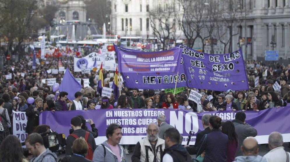 Imagen de la manifestación que tuvo lugar en Madrid el 8 de marzo de 2017, con motivo del Día Internacional de la Mujer